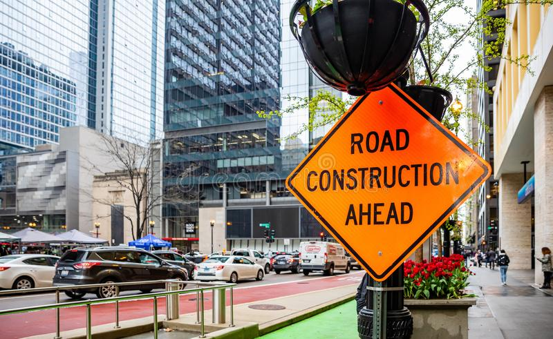 Road construction ahead, road warning sign in Chicago, Illinois royalty free stock photography
