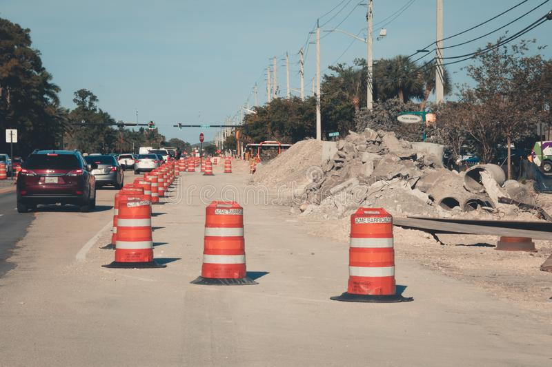 Road construction barriers protect car traffic and road construction in Coral Springs, FL stock photos