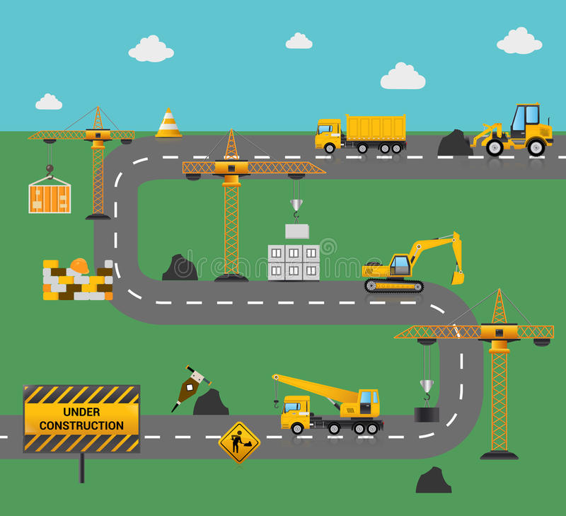 Road Construction Concept stock illustration