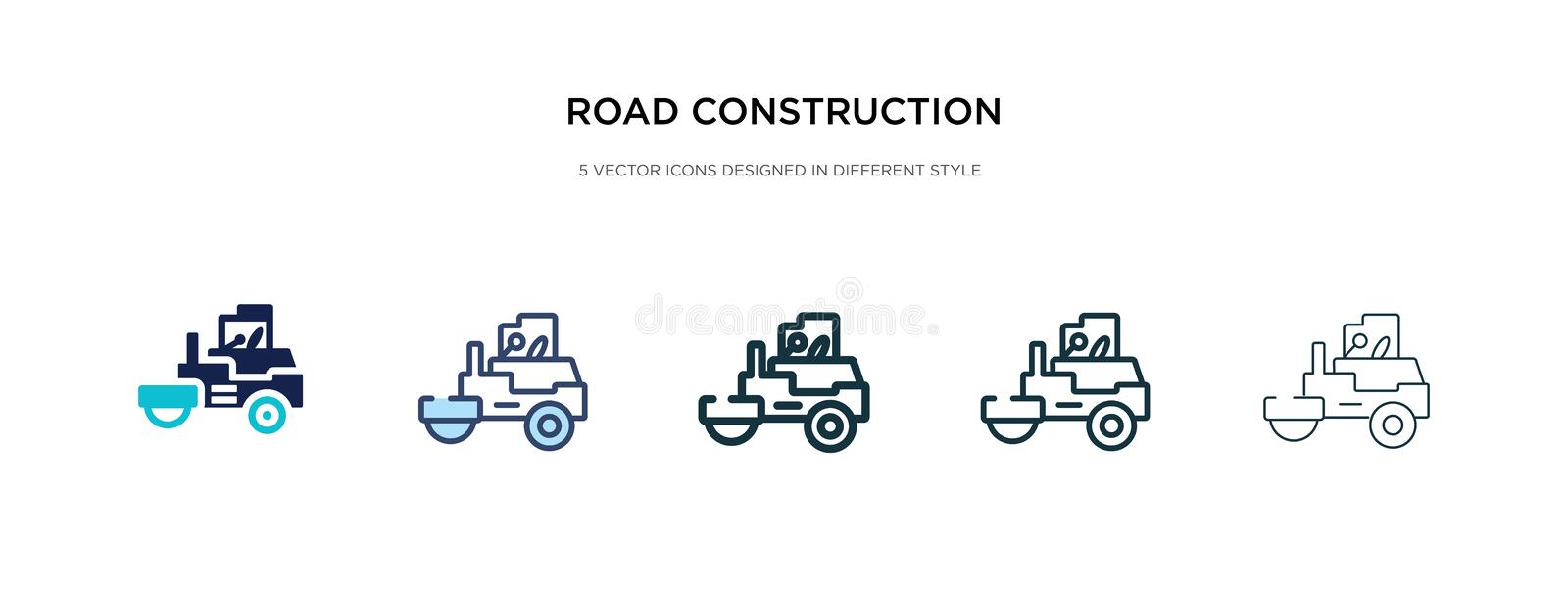 Road construction icon in different style vector illustration. two colored and black road construction vector icons designed in. Filled, outline, line and stock images