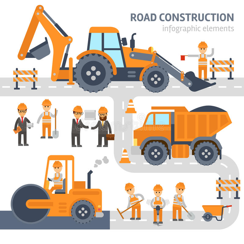 Road construction infographic elements vector flat design. Construction, workers, excavator, roller, bulldozer. stock illustration