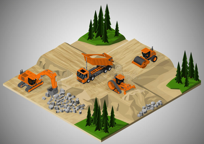 Road construction and machinery involved. vector illustration
