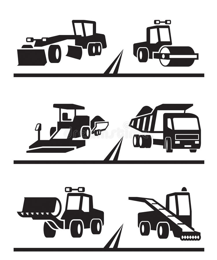 Road construction machinery royalty free illustration
