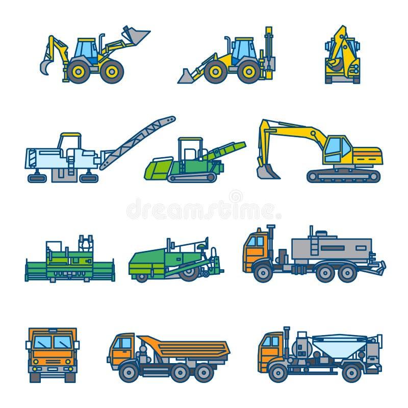Road construction machines. Color vector illustration. Icon style set. Road construction machines. Road roller, bulldozer, excavator, asphalt paver, loader royalty free illustration