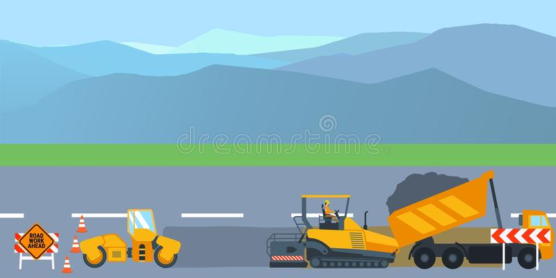 Road construction and road repair banner. Asphalt compactor road under construction repair road signs. Vector stock illustration