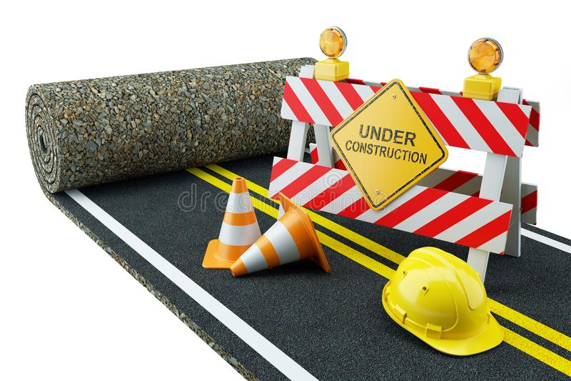 Road construction in roll with fence stock illustration