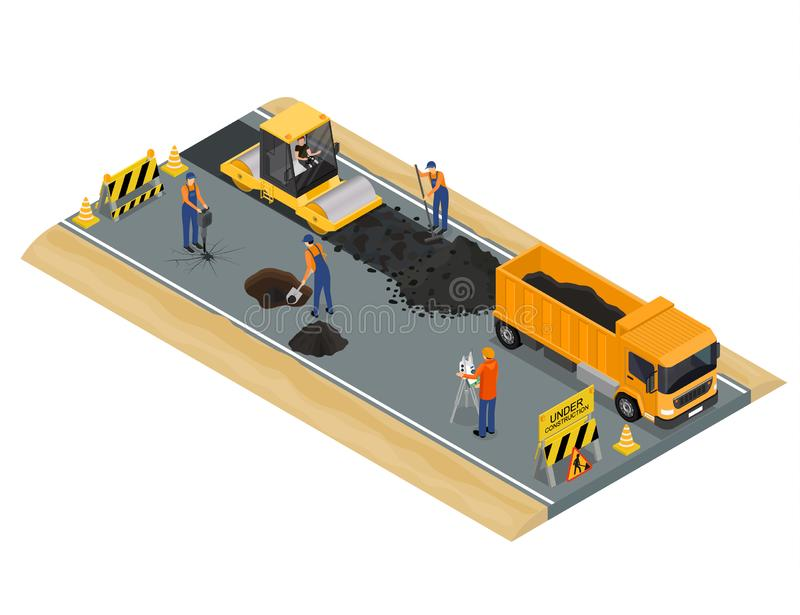 Road Construction Scene Concept 3d Isometric View. Vector royalty free illustration