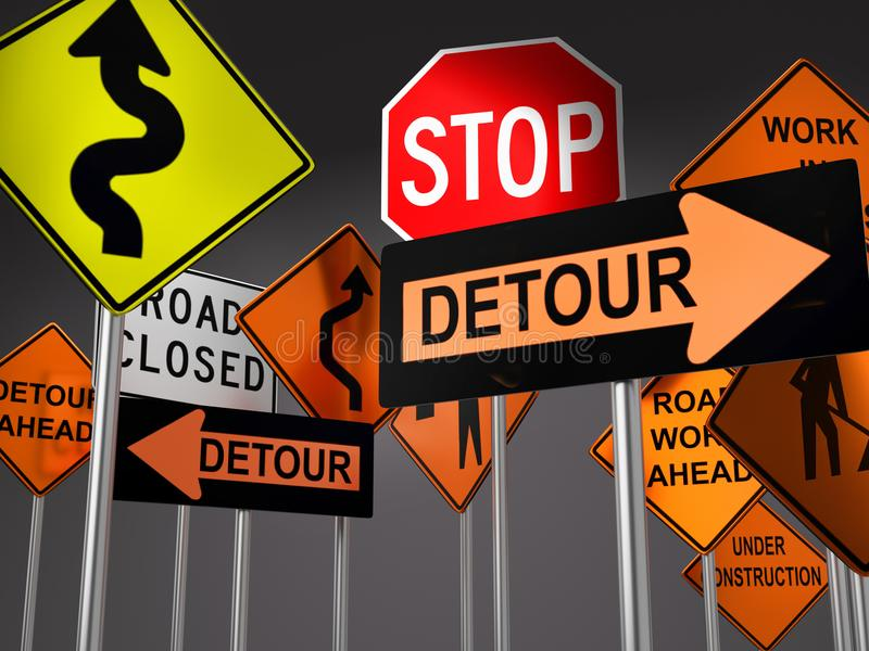 Road construction signs. 3D render of set of various American road construction signs against dark gray background royalty free illustration
