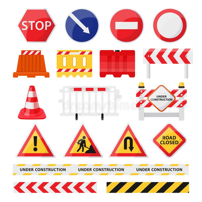 Road construction signs set, city build and repair royalty free illustration