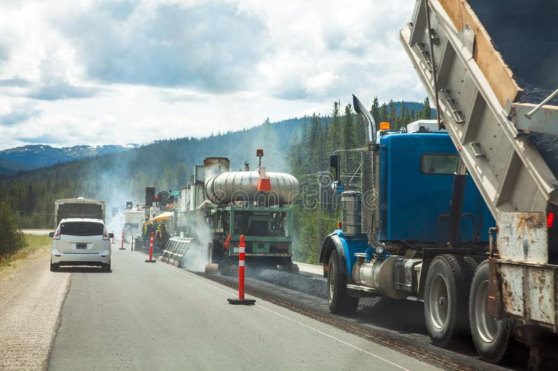 Road construction site in British Columbia royalty free stock photo