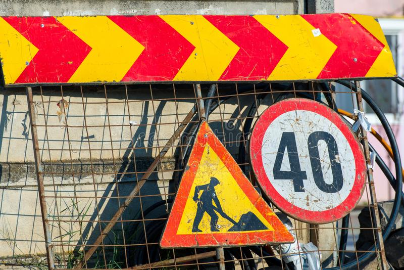 Road construction street signs close up shot. On the city street royalty free stock photography