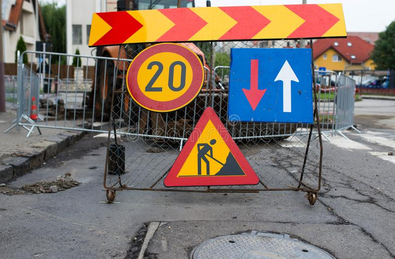 Road construction street signs close up shot. On the city streets royalty free stock photos