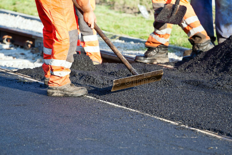 Road construction teamwork royalty free stock photo