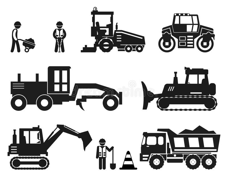 Road construction worker black vector icons set. Road worker, repair equipment, vehicle industry road illustration vector illustration