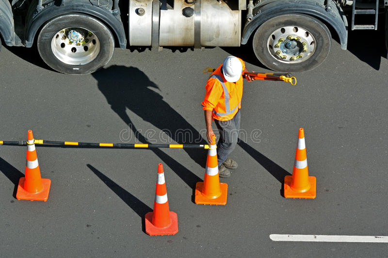 Road construction worker stock image