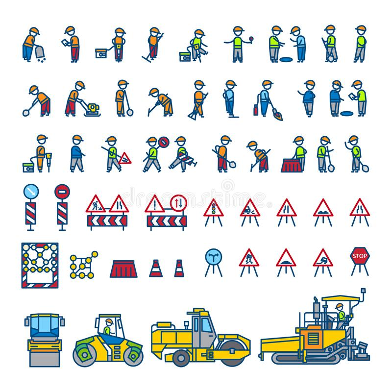 Road construction workers in different action poses, machines and signs. Color vector illustration. Icon style set. Road construction workers in different action stock illustration