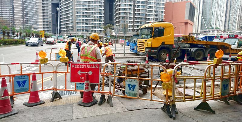 Road Construction and Road Workers royalty free stock photo