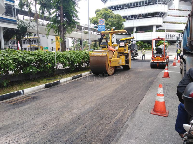 Road construction works in Singapore royalty free stock photo
