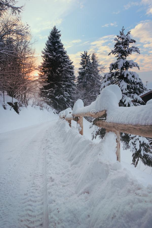 Road covered with snow going to the sun royalty free stock images