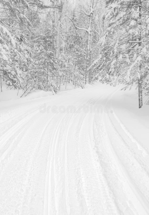 Road covered in snow stock images