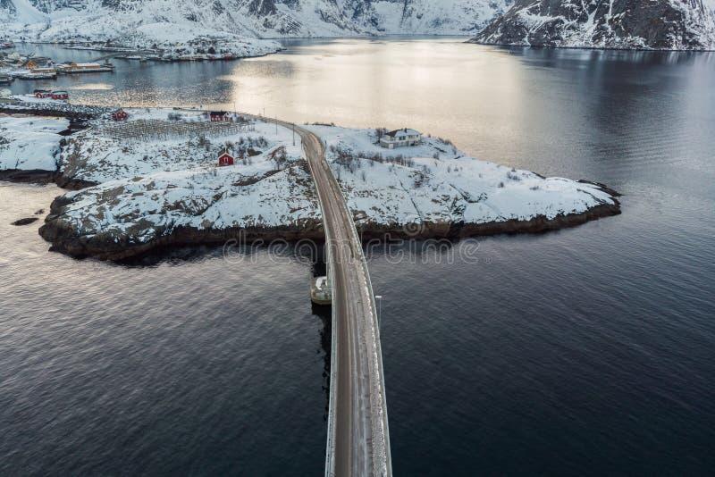 Road cross over arctic ocean in winter at Lofoten islands royalty free stock image