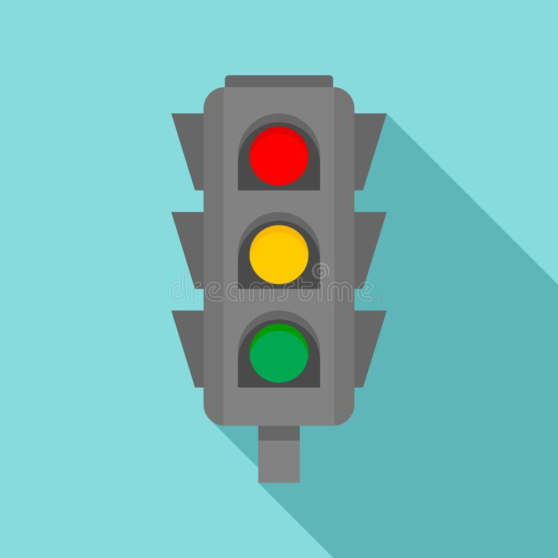 Road cross traffic lights icon, flat style royalty free illustration