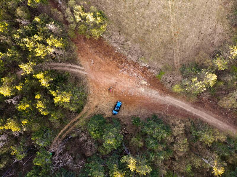 Road crossroad tree nature aerial field green rural country dirt top drone forest view car high through meadow above route trail royalty free stock photo