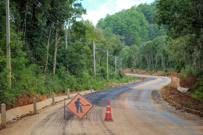 The road currently under construction. royalty free stock image