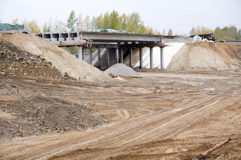 Road currently under construction at several levels to increase traffic . royalty free stock photos