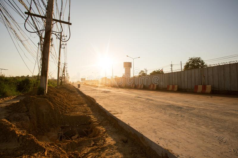 Road currently under construction at to increase traffic stock images