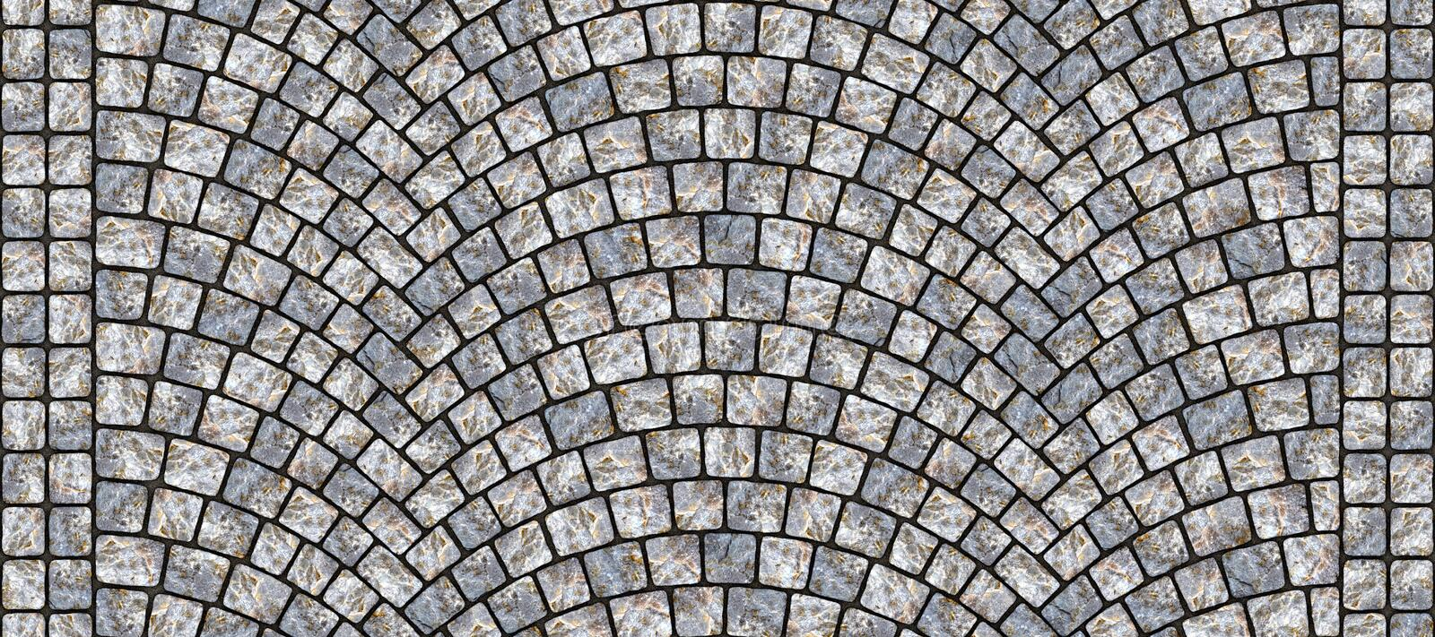 Road curved cobblestone texture 098. Cobblestone arched pavement road with edge courses at the sidewalk. Seamless tileable repeating 3D rendering texture vector illustration