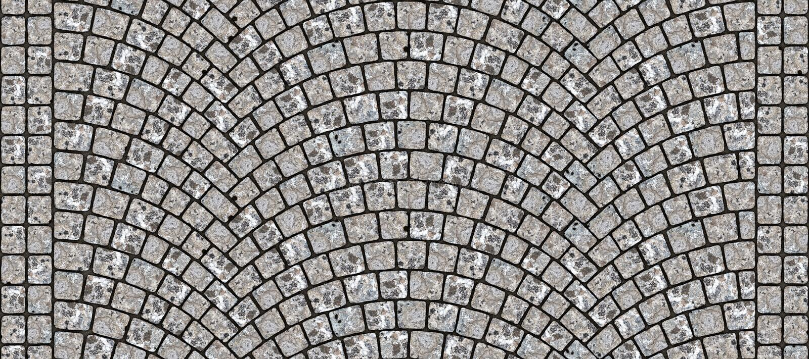 Road curved cobblestone texture 099. Cobblestone arched pavement road with edge courses at the sidewalk. Seamless tileable repeating 3D rendering texture royalty free illustration