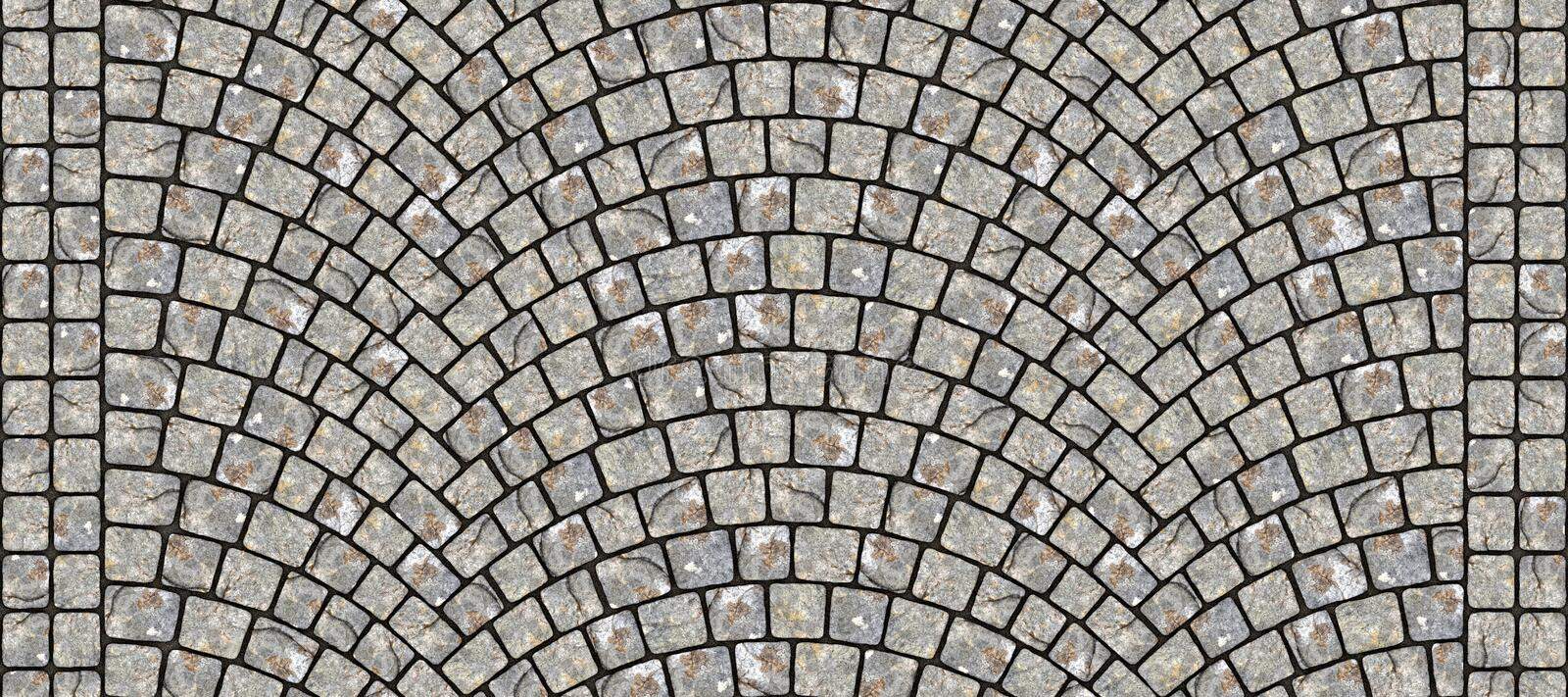 Road curved cobblestone texture 100. Cobblestone arched pavement road with edge courses at the sidewalk. Seamless tileable repeating 3D rendering texture vector illustration