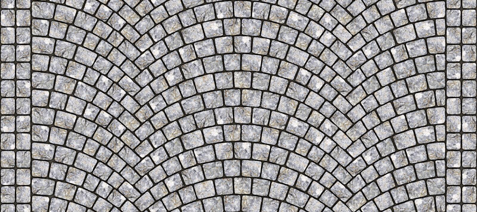 Road curved cobblestone texture 101. Cobblestone arched pavement road with edge courses at the sidewalk. Seamless tileable repeating 3D rendering texture royalty free illustration