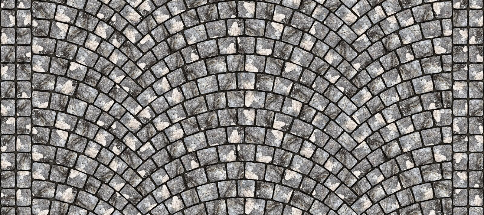 Road curved cobblestone texture 102. Cobblestone arched pavement road with edge courses at the sidewalk. Seamless tileable repeating 3D rendering texture royalty free illustration