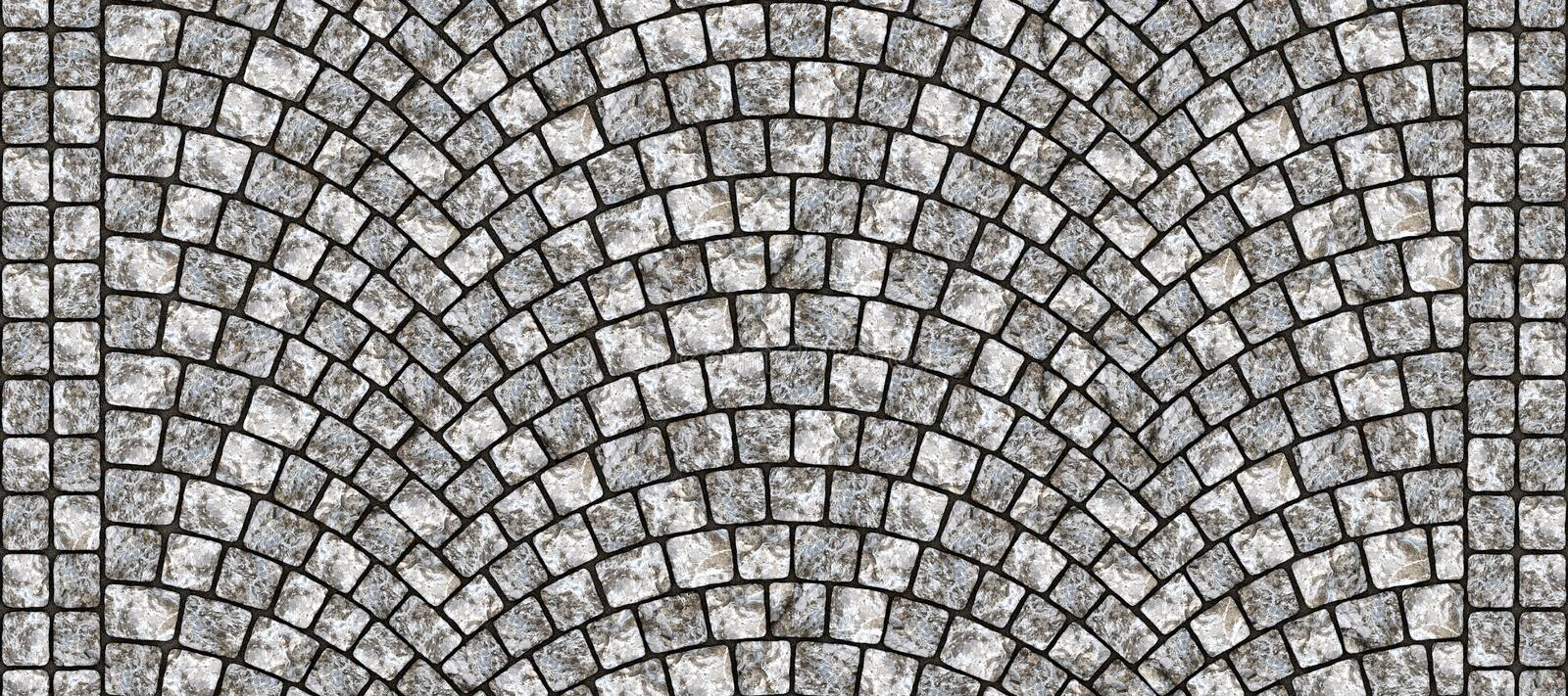 Road curved cobblestone texture 104. Cobblestone arched pavement road with edge courses at the sidewalk. Seamless tileable repeating 3D rendering texture stock illustration