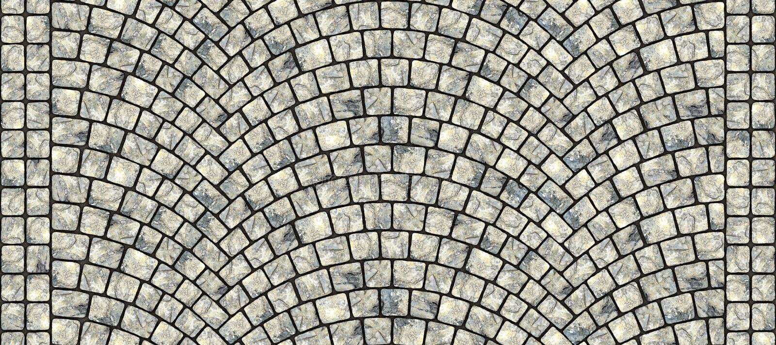 Road curved cobblestone texture 103. Cobblestone arched pavement road with edge courses at the sidewalk. Seamless tileable repeating 3D rendering texture vector illustration