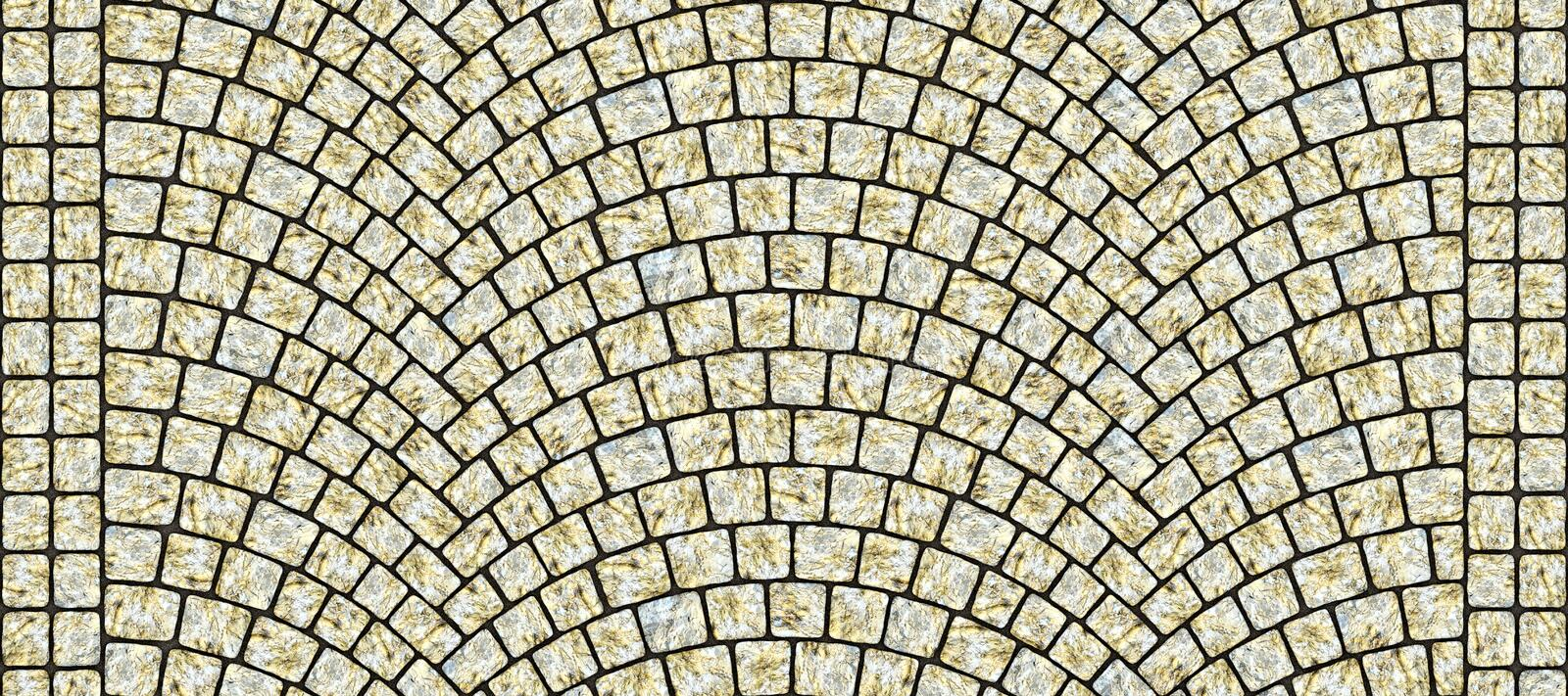 Road curved cobblestone texture 105. Cobblestone arched pavement road with edge courses at the sidewalk. Seamless tileable repeating 3D rendering texture royalty free illustration