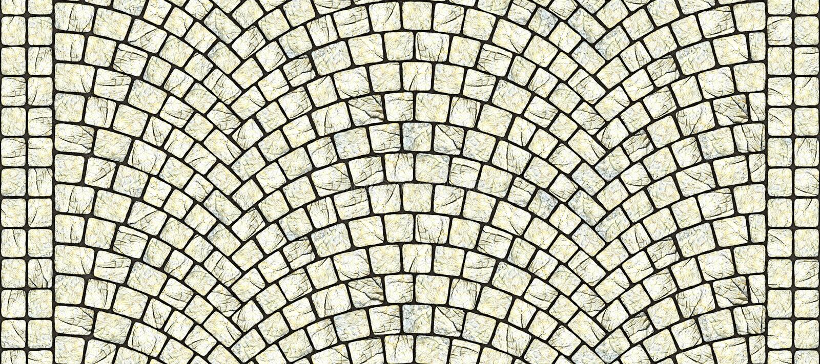 Road curved cobblestone texture 106. Cobblestone arched pavement road with edge courses at the sidewalk. Seamless tileable repeating 3D rendering texture stock illustration