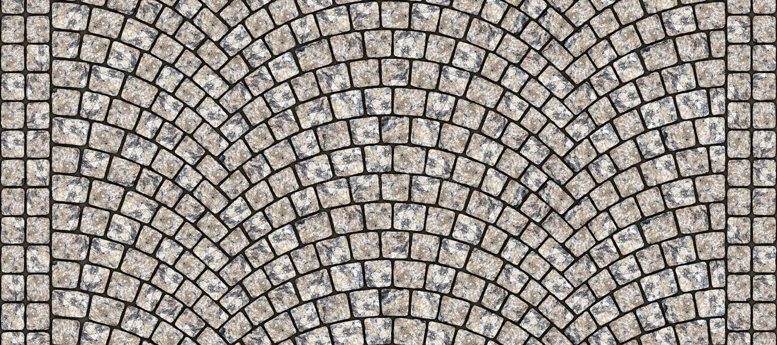 Road curved cobblestone texture 109. Cobblestone arched pavement road with edge courses at the sidewalk. Seamless tileable repeating 3D rendering texture vector illustration