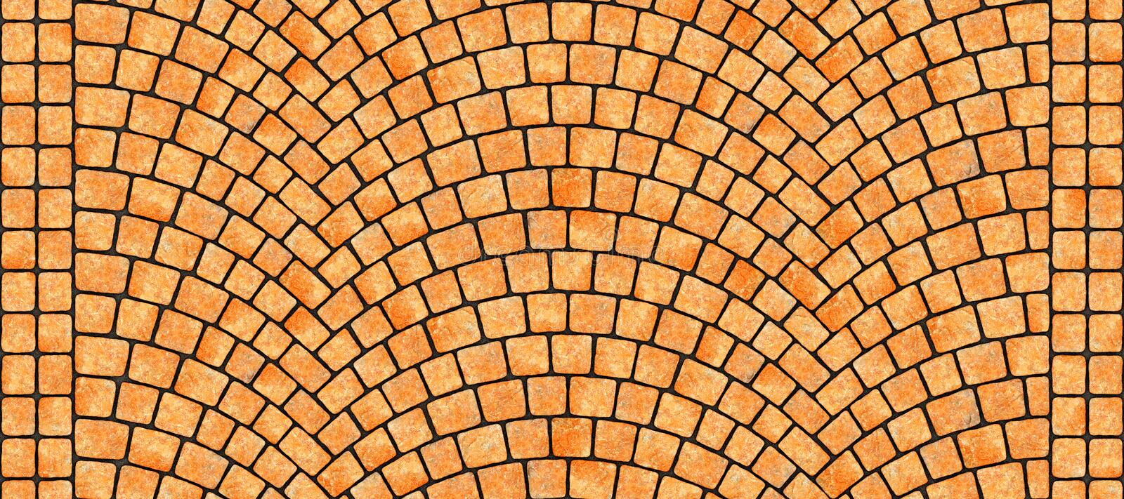 Road curved cobblestone texture 110. Cobblestone arched pavement road with edge courses at the sidewalk. Seamless tileable repeating 3D rendering texture stock illustration