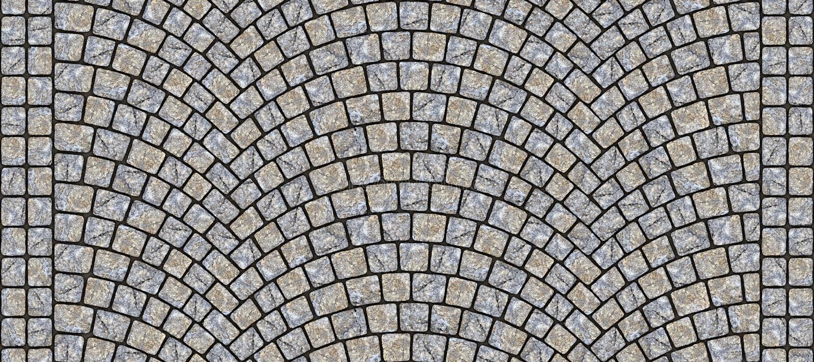 Road curved cobblestone texture 107. Cobblestone arched pavement road with edge courses at the sidewalk. Seamless tileable repeating 3D rendering texture stock illustration