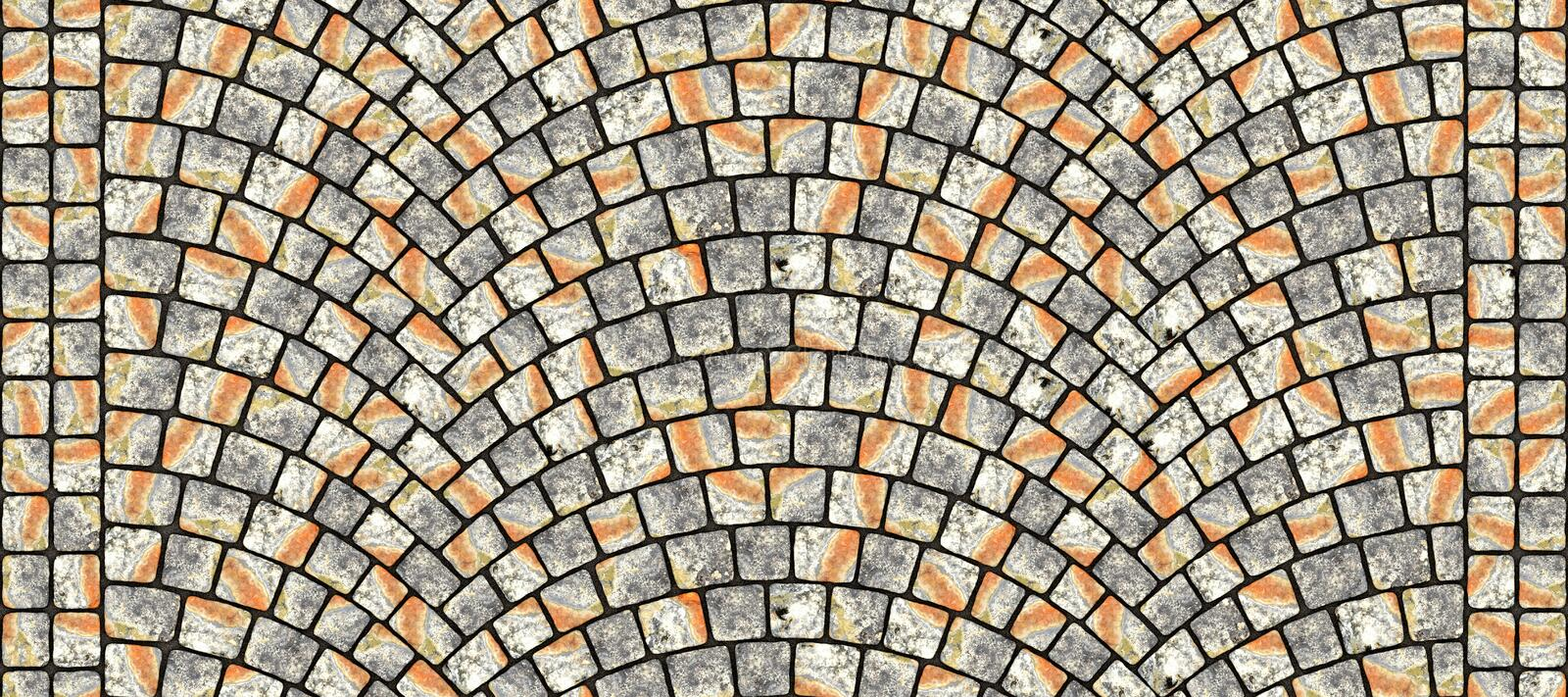 Road curved cobblestone texture 111. Cobblestone arched pavement road with edge courses at the sidewalk. Seamless tileable repeating 3D rendering texture stock illustration