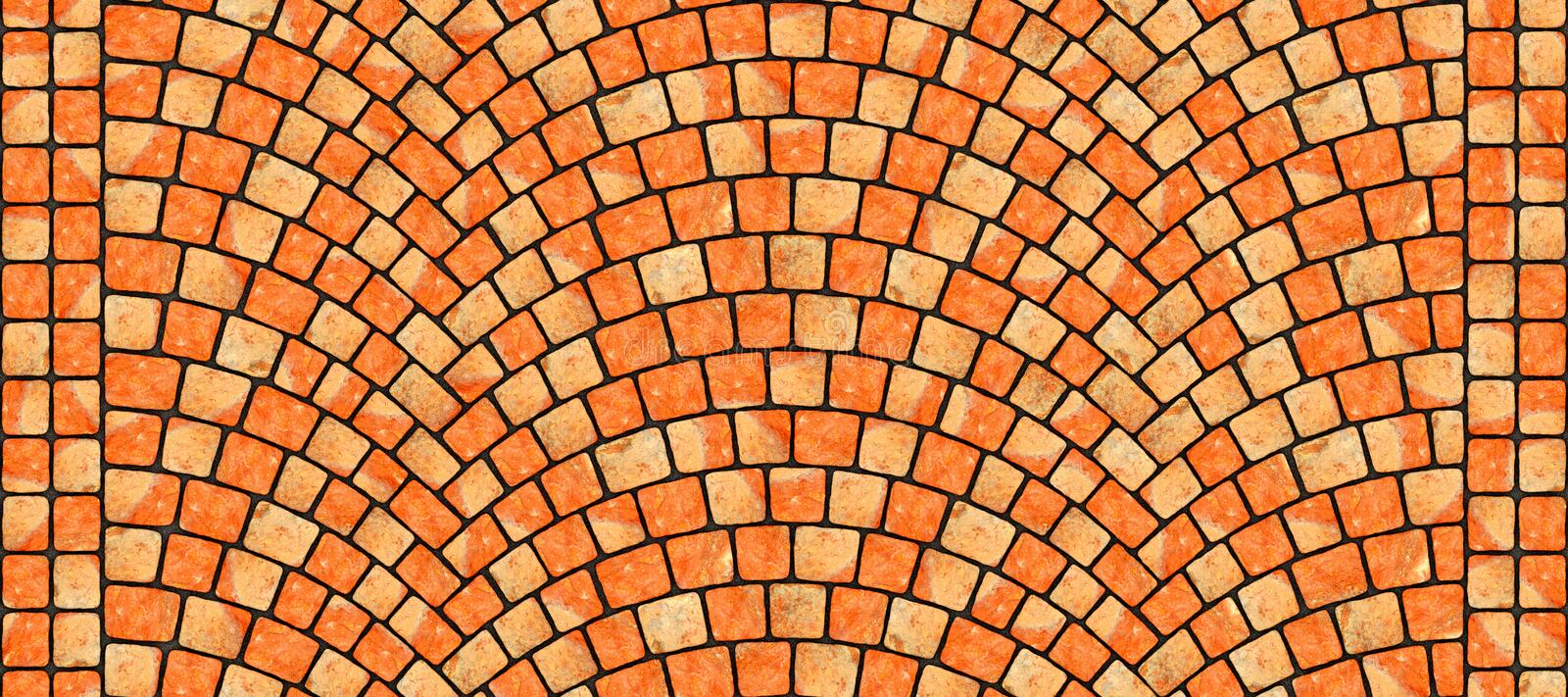 Road curved cobblestone texture 112. Cobblestone arched pavement road with edge courses at the sidewalk. Seamless tileable repeating 3D rendering texture vector illustration