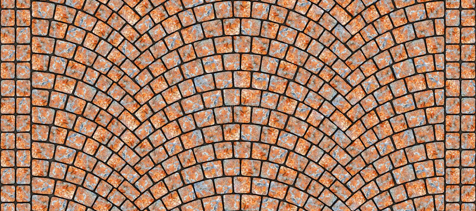 Road curved cobblestone texture 113. Cobblestone arched pavement road with edge courses at the sidewalk. Seamless tileable repeating 3D rendering texture royalty free illustration