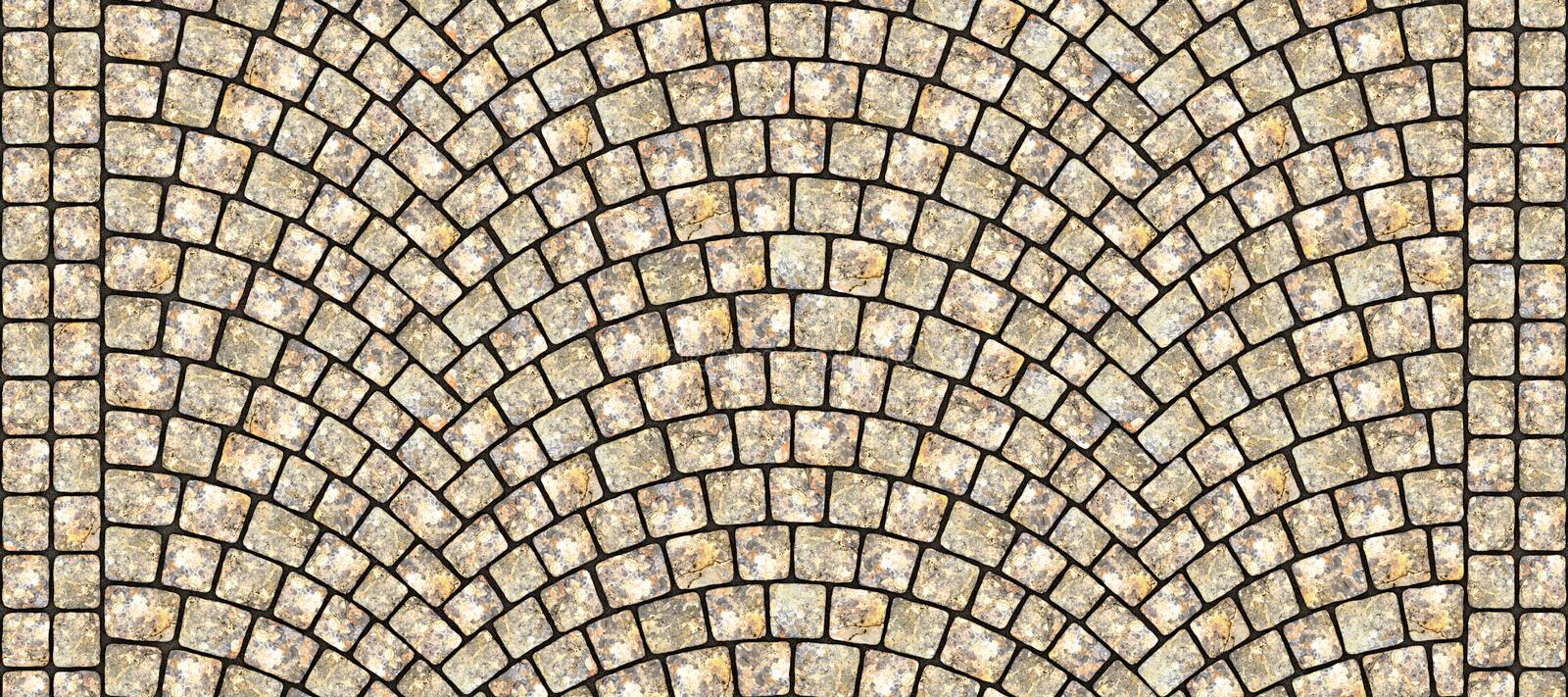 Road curved cobblestone texture 114. Cobblestone arched pavement road with edge courses at the sidewalk. Seamless tileable repeating 3D rendering texture royalty free illustration