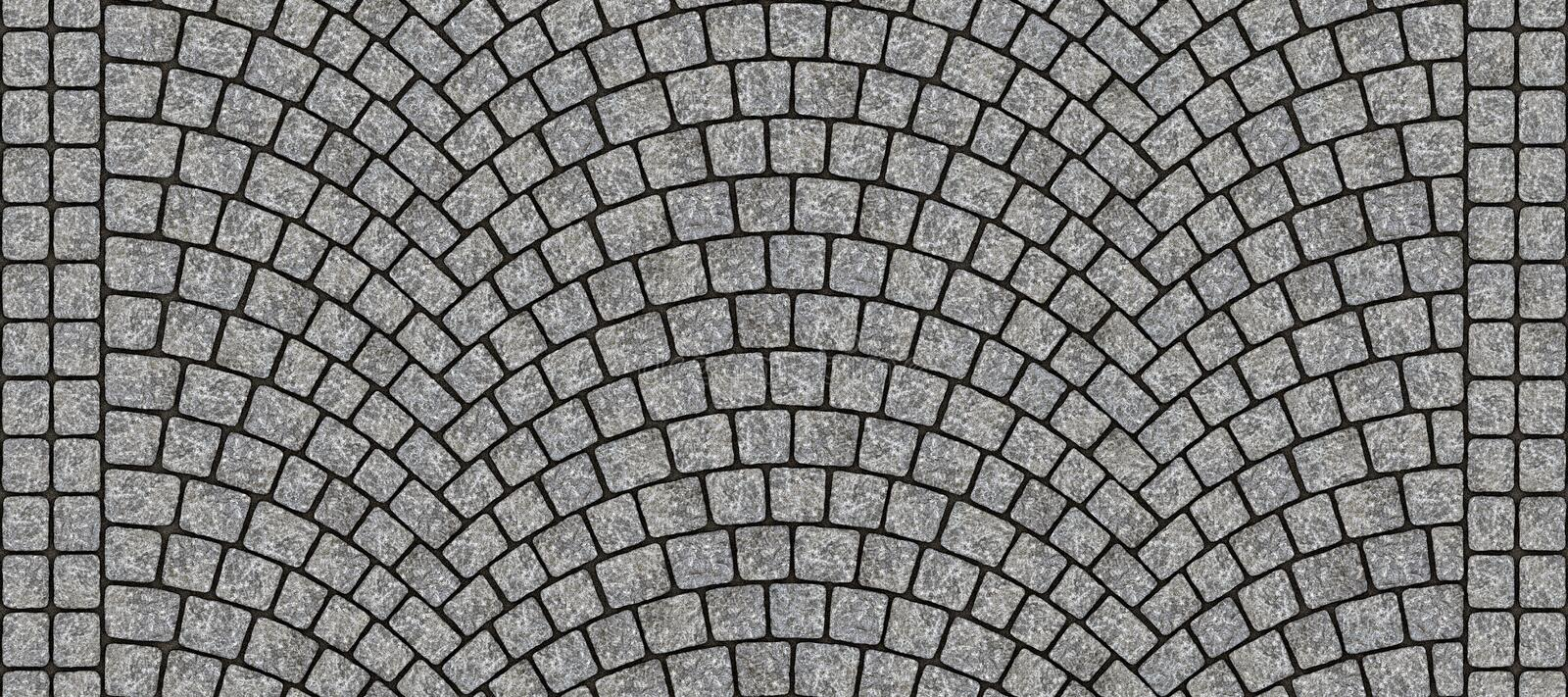 Road curved cobblestone texture 012. Cobblestone arched pavement road with edge courses at the sidewalk. Seamless tileable repeating 3D rendering texture royalty free illustration