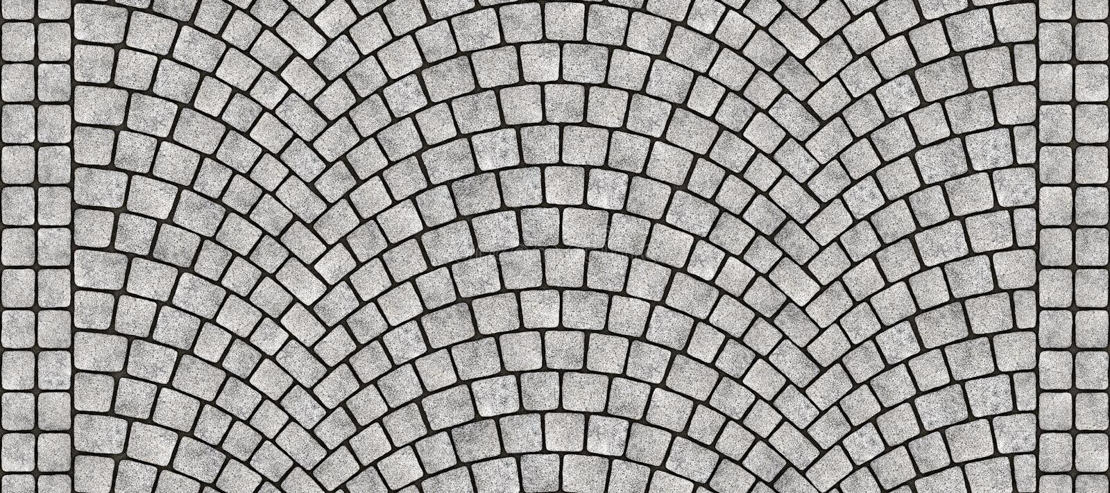 Road curved cobblestone texture 072. Cobblestone arched pavement road with edge courses at the sidewalk. Seamless tileable repeating 3D rendering texture royalty free illustration