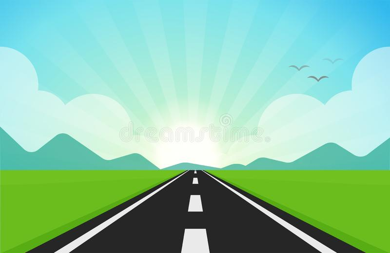 The road that cuts through green fields, mountains and sunshine in the morning royalty free illustration