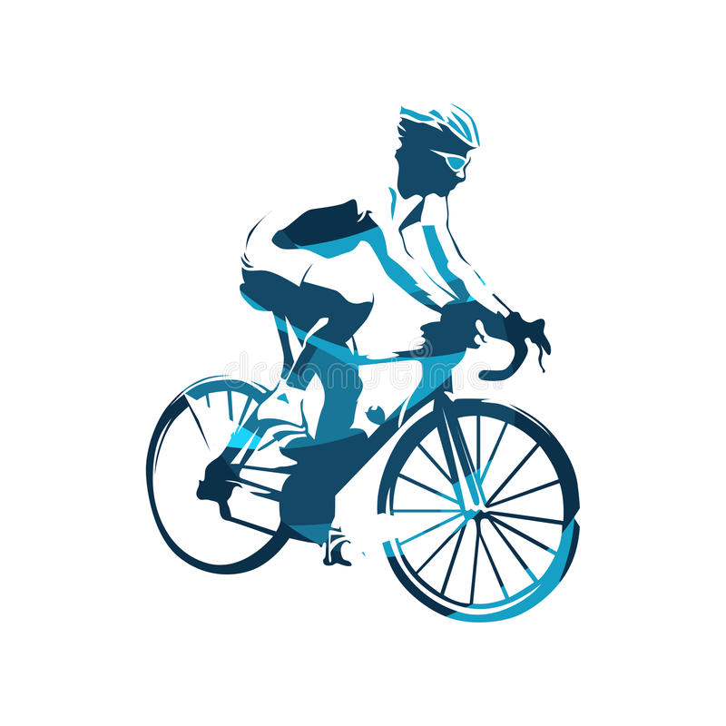 Road cycling, abstract blue cyclist royalty free illustration